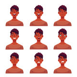 Set of young african man face expression avatars Stock Photo