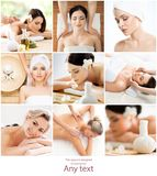 Set with young and beautiful girls relaxing in spa. Woman in massaging salon. Traditional oriental therapy and massaging stock image