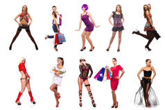 Set of young beauty women Royalty Free Stock Photo