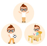 Set Young boy with glasses - paints sitting at a school desk, playing football. Vector illustration eps 10 isolated on white backg Stock Image