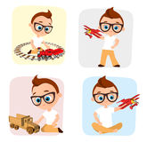 Set Young Boy with glasses and toy. Boy playing car, train, plane. Vector illustration eps 10 isolated on white background. Flat c Royalty Free Stock Photography
