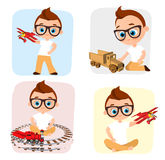 Set Young Boy with glasses and toy. Boy playing car, train, plane. Vector illustration eps 10 isolated on white background. Flat c Stock Photos