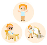 Set Young boy - paints sitting at a school desk, Drawing Whiteboard. Vector illustration eps 10 isolated on white background. Stock Images