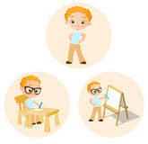 Set Young boy - paints sitting at a school desk, Drawing Whiteboard. Vector illustration eps 10 isolated on white background. Flat Royalty Free Stock Image