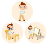 Set Young boy - paints sitting at a school desk, Drawing Whiteboard. Vector illustration eps 10 isolated on white background. Flat Royalty Free Stock Images