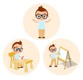 Set Young boy - paints sitting at a school desk, Drawing Whiteboard. Vector illustration eps 10 isolated on white background. Flat Stock Images
