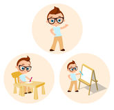 Set Young boy - paints sitting at a school desk, Drawing Whiteboard. Vector illustration eps 10 isolated on white background. Flat Stock Photography