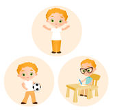 Set Young boy - paints sitting at a school desk, playing football. Vector illustration eps 10 isolated on white background. Flat c Royalty Free Stock Image