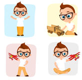Set Young Boy playing toy. Vector illustration eps 10 isolated on white background. Flat cartoon style. Stock Photography