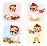 Set Young Boy playing toy. Vector illustration eps 10 isolated on white background. Flat cartoon style. Royalty Free Stock Images
