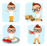 Set Young Boy playing toy. Vector illustration eps 10 isolated on white background. Flat cartoon style. Royalty Free Stock Photography
