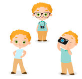 Set Young Boy. Vector illustration eps 10 isolated on white background. Flat cartoon style. Stock Images