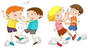 Set of young boys fighting. Illustration Royalty Free Illustration