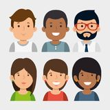 Set of young business people. Vector illustration graphic design Stock Images