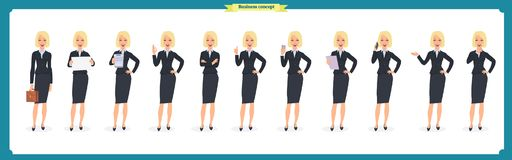 Set of young businesswoman presenting in different poses.People character. Standing. Isolated on white. Flat style.business. Set of young businesswoman Royalty Free Stock Photo
