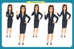 Set of young businesswoman presenting in different poses.People character. Standing. Isolated on white. Flat style.business. Set of young businesswoman Stock Images