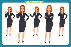 Set of young businesswoman presenting in different poses.People character. Standing. Isolated on white. Flat style.business. Set of young businesswoman Stock Photography