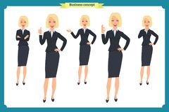 Set of young businesswoman presenting in different poses.People character. Standing. Isolated on white. Flat style.business. Set of young businesswoman Royalty Free Stock Photography