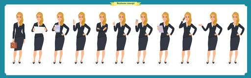 Set of young businesswoman presenting in different poses.People character. Standing. Isolated on white. Flat style.business. Set of young businesswoman Royalty Free Stock Photos