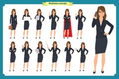 Set of young businesswoman presenting in different poses.People character. Standing. Isolated on white. Flat style.business. Set of young businesswoman Royalty Free Stock Images