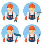Set of young cheerful worker in overalls with tools Stock Photo