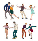 Set of a young couple dancing lindy hop, hand drawn colorful illustration. Stock Image