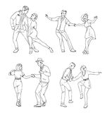 Set of a young couple dancing lindy hop, hand drawn contour illu Stock Images