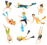 Flat vector set of young divers. People in swimsuits swimming underwater. Active recreation. Scuba diving and snorkeling. Set of young divers in different poses royalty free illustration