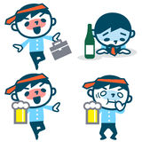 Set of young drunk businessman Stock Photography