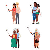 Set of young and elder couples taking selfie vector illustration Royalty Free Stock Photos
