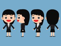 Set of young female businessman in cute cartoon style. stock illustration