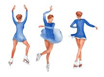 Set of young figure skater dancing indian dance in different positions on a white background. stock illustration