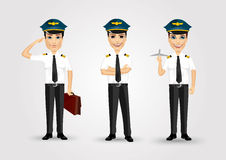 Set of young friendly pilots Stock Photo