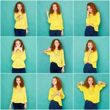 Emotions set of young woman at studio background. Set of young girl emotions. Casual redhead woman grimacing and gesturing on camera at blue studio background royalty free stock images
