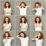 Emotions set of young woman at studio background. Set of young girl emotions. Casual redhead woman grimacing and gesturing on camera at gray studio background stock photography