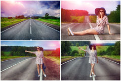 Set. young girl hitchhiking travels Stock Images