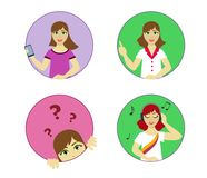 A set of young girls characters in a round holle with different actions. Vector in the style of flat. stock illustration