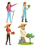 Set young girls gardeners hiking with plant tree and walk stick stock illustration
