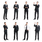 Set of a young handsome businessman isolated on white. Business, career, job, concept. Set of a young handsome businessman isolated on white. Business, career Royalty Free Stock Photo