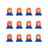 Set of young hipster girl facial expressions. vector illustration royalty free illustration