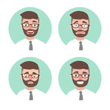 Set of young hipster man emotions. office worker portrait emotions avatars. Illustration businessman Royalty Free Stock Photography