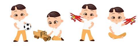 Set young Japanese boy playing toy. Vector illustration eps 10 isolated on white background. Flat cartoon style. Royalty Free Stock Photo