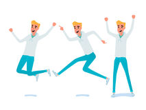 Set of young man character design. Royalty Free Stock Photo