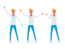 Set of young man character design. Happy young man in casual clothes in various poses. Stock Photos