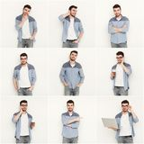 Set of young man different emotions at white studio background. Set of young casual man expressing different emotions and gesturing at white studio background stock photos