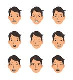 Set of young man`s faces with various emotions. Emoji, emoticon collection. Flat vector illustration. Isolated on white stock illustration