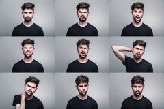 Set of young man's portraits with different emotions. Set of man's portraits with different emotions royalty free stock photo