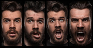 Set of young man's portraits with different Royalty Free Stock Image