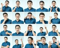 Set of young man`s portraits with different emotions and gesture Royalty Free Stock Image
