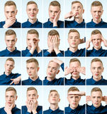 Set of young man`s portraits with different emotions and gesture Stock Image